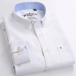 white pink shirt Australia - White Dress Shirt Men Long Sleeve Solid Oxford Dress Shirt with Left Chest Pocket High-quality Male Casual Top Button Down