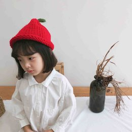 korean gardening hat NZ - Korean hand-knitted knitted hats for boys and girls, grass, cute baby hats, fashionable baby cartoon warm hats