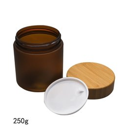 BamBoo jar online shopping - 70pcs g borwn PET Cream Bottle Jars With bamboo Lid bamboo Cap Bamboo Plastic Cosmetic Container Candy Jars