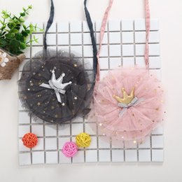 purses crown Australia - Newest Fashion Cute Infant Baby Girls Kids Bags Crown Lace Cotton Causal Shoulder Bags 2 Colors Girls Princess Coin Purses