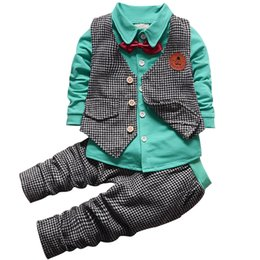 $enCountryForm.capitalKeyWord Australia - 2018 Fashion Baby Boys Clothes Set Long Sleeve Plaid Gentleman Suit For Boys Children Clothing Cotton Costume For Kids Suits J190717