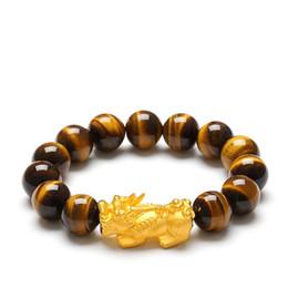 Natural Tigers Eye Bracelet NZ - Natural Tiger Eye Beaded Bracelet Gold Plated Pixiu Charms Feng Shui Bracelet For Men and Women