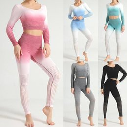 ladies sexy white pant suit Australia - Sexy Yoga Suits Sport-wear New 2020 Ladies Hollowing Out Gradual Change Tight Hip Long Sleeve Tops High Waist Pants Yoga Set