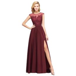 $enCountryForm.capitalKeyWord UK - 2019 Burgundy Chiffon Long Bridesmaids Dresses Sheer Cap Sleeves Lace Applique Split Wedding Guest Maid Of Honor Dresses Real Image BM0146