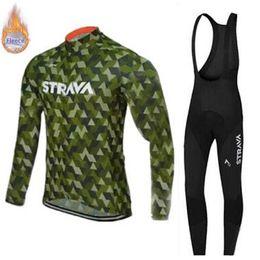 $enCountryForm.capitalKeyWord Australia - STRAVA Winter 2019 pro team long sleeve Cycling jersey 9D pad Bike bib Pants set Mens Ropa Ciclismo Thermal fleece Cycling Clothing Maillot