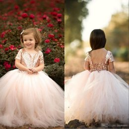 7e5127ff38a9 Rose Gold Sequins Flower Girls' Dresses Cute Baby Infant Toddler Baptism  Clothes With Tutu Tulle Ball Gowns Birthday Party Tailor Made Cheap