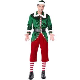 55976f21d1 Espírito de Natal Verde de veludo Vermelho Trajes de Elfos Cosplay Terno  Para O Homem Festa de Natal Cosplay