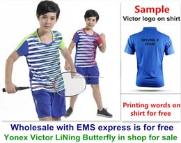 Ems Clothes Australia - Wholesale EMS for free, Text printing for free, new kid children badminton shirt clothes table tennis T sport shirt clothes 321