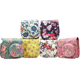 3ae46879869d2 Flower PU Leather Camera Case Bag for Instax Mini 9 8 8 plus Instant Film  Camera with Accessories Pocket and Strap