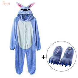 $enCountryForm.capitalKeyWord Australia - Solid Stitch With Slippers Kigurumi Adult Women Men Blue Onesies Cute Animal Pajama Suit Jumpsuit Carnival Party Funny Anime Outfit