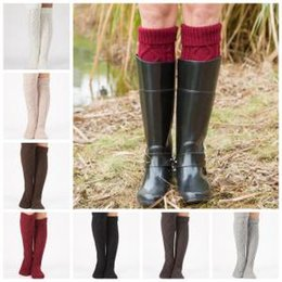 Warm Winter long boots over knees online shopping - Over Knee High Stockings Colors Knitted Winter Warm Long Socks Women Knitting Leg Warmers Boot Socks Party Favor Socks OOA6088