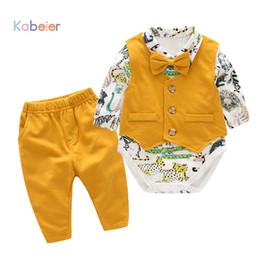 $enCountryForm.capitalKeyWord Canada - Baby Newborn Boy Clothes Sets Birthday Gift Boys Baby Romper Vest Tops Long Pants 3Pcs Outfits Set 0-24M Boys Clothes Romper