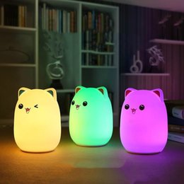 Led Night Lights Lights & Lighting Cat Shape Night Light Magic Wall Lamp Pvc Led Lucky Flashing Lamp Changing Colors Colorful Bedroom Holiday Home Decor Kids Gift