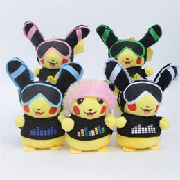 Pikachu animals online shopping - 4 Inches DJ Music Pikachu Stuffed Doll Keychain Colors Cartoon Plush Animals Toy Keyring For Bag Decors Key Holder xy E1