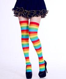 1 Par Mulheres Meninas Meias Coxa Alta Sobre O Joelho Longo Meias-Moda Natal Halloween Carnaval Partido Cheerleader Listrado Meias Longas em Promoção