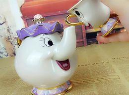 Conjunto de chá dos desenhos animados beleza e bule chip cup conjunto adorável presente criativo chá bebida de leite em Promoção