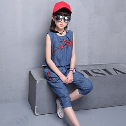 $enCountryForm.capitalKeyWord Australia - Girls Denim Clothes Suit Summer Costume For Girls Embroidery Teenage Kids Clothing 6 8 12 Years Casual Sleeveless Girl Clothing J190709
