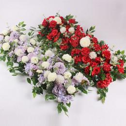 Linha de flor artificial decoração para DIY casamento arco de ferro plataforma T estação Xmas fundo flor janela da parede decoração adereços venda por atacado