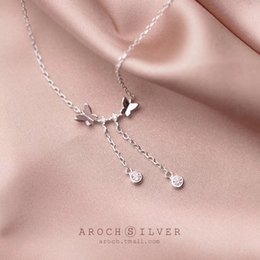 Butterfly Chains Australia - S925 Silver Necklace Pendant Female Han Edition Small Pure And Fresh Temperament Of Butterfly Pendant Chain Tassel Clavicle