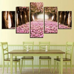 $enCountryForm.capitalKeyWord Australia - Pictures Wall Art Home Decoration 5 Pieces Pink Cherry Blossoms Tree For Living Room Modern Landscape Painting Posters