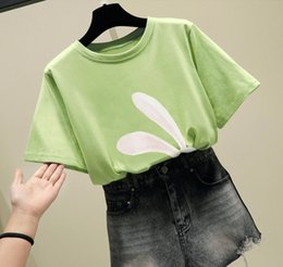 white shorts for girls NZ - Rabbit Printed Summer's Cotton T-shirt ladies Short Sleeve T-shirt Women loose Casual T-shirt For Girls Short Sleeve White Black M L XL XXL