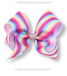 $enCountryForm.capitalKeyWord Australia - JOJO SIWA Baby Girl Children 8inch Large Rainbow Ribbon Hair Bows Clips Fashion Rhinestone Gradient Hairpin -C005