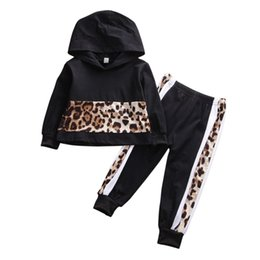 baby leopard print t shirt NZ - 2-7Y Toddler Baby Kid Boy Clothes Sets Leopard Print Hooded Long Sleeve T-shirt Tops + Pants Clothes Outfit