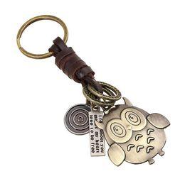 $enCountryForm.capitalKeyWord Australia - Lovely owl keychain for women Cowhide hand-weaving alloy bronze key ring Car keychains letters fashion jewelry chaveiro gift