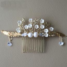 hair styles for weddings 2019 - Greek Style Zircon Pearl Flower Comb Bridal Wedding headdress Golden Leaves Hair Accessories For Women cheap hair styles