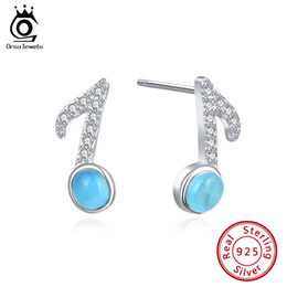Earrings notEs musical online shopping - ORSA JEWELS Cute S925 Women Musical Note Stud Earrings Romantic Shiny Clear CZ Sterling Silver Gold Plated Female Daily Jewelry SE175