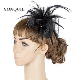 cocktail party hair accessories 2020 - Bride women wedding vintage headwear tulle fascinator hair accessories fancy feather party ladies headdress cocktail hea