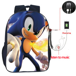 Discount high school lights - High Quality Sonic The Hedgehog backpack USB Charge Backpack Fashion Men Women Travel Bag Teens Students sonic School Ba