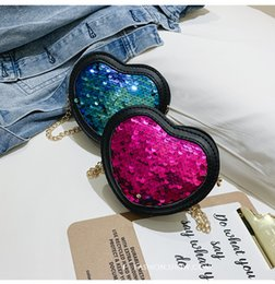 Heart Shaped Handbags Wholesale Australia - Children Handbag Fashion Girls Kids Cute Casual Retro Heart Shape Sequins Design Cross-body PU Shoulder Messenger Bag DHL LE325