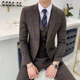 grooms smoking suit 2019 - Plaid Man Suit Slim Fit Costume Homme Mariage Vintage Groom Suits Mens Fashion Smoking Para Hombre Jaqueta Social Mascul