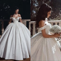 Discount organza puffy wedding dresses - Arabic Dubai Lace Wedding Dresses Vintage Puffy Ball Gown Off Shoulder Lace Up Back Floor Length Gorgeous Bridal Gowns