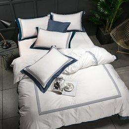 China 5-star Hotel White Luxury 100% Egyptian Cotton Bedding Sets Full Queen King Size Duvet Cover Bed Flat Sheet Fitted Sheet set Pil cheap purple cotton jacquard bedding set suppliers