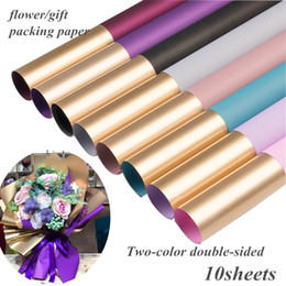 $enCountryForm.capitalKeyWord NZ - 200pcs Two-color Waterproof Flower Wrapping Paper Gold Duplex Origami Paper Flowers Shop Packing Bouquet T Material Floral Decor