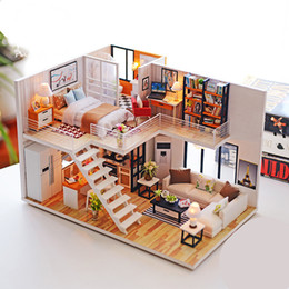 $enCountryForm.capitalKeyWord NZ - Assemble Diy Wooden House Toy Wooden Miniatura Doll Houses Miniature Dollhouse Toys With Furniture Led Lights Birthday Gift SH190709