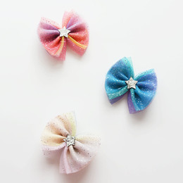 Dog Grooming Hair Clip Australia - 2018 new Dog Grooming Clip Pet Sky Star Mesh Hairpin Headdress Girls Large Bow Hair Flower Card for Dogs Hairpin Accessories 20pcs lot
