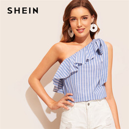c299890c4a22be SHEIN Blue Knotted Flounce One Shoulder Striped Summer Blouse Women Tops  2019 Sleeveless Sexy Top Vacation Cotton Ladies Tops
