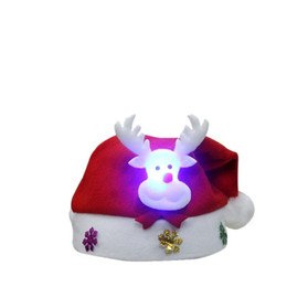 stuffed deer 2019 - Non Woven Kids Christmas Hat With Led Light Cartoon Applique Santa Deer Snow Pattern Hats Christmas Holiday Supplies che
