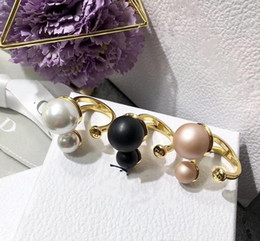 $enCountryForm.capitalKeyWord Australia - Designer Pearl Rings for Women Italy Brand 18K gold Plated D logo Copper 2 Pearls Opening Ring Jewelry Gifts With Brand Bag