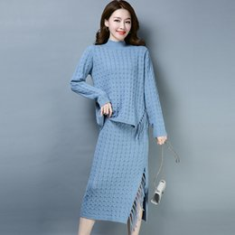 sweater colors turtleneck 2019 - 3 Colors Brand Women Set Fall Winter New Solid Color Knit Suit Turtleneck Sweater + Trendy Tassel Slit Long Skirt Two Pi