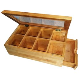$enCountryForm.capitalKeyWord Australia - Bamboo Box Storage Organizer,Box Natural Chest with Clear Hinged Lid, 8 Storage Sections with Expandable Drawer