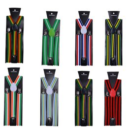 $enCountryForm.capitalKeyWord Australia - Striped Suspenders 2.5*100CM Adult Elastic Y-back 20 colors Rainbo strap Adjustable braces for Clip-on Hallowmas Christmas gift free ship