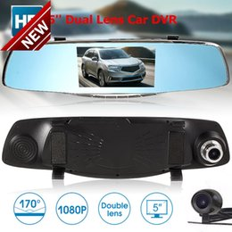 Camera Mirror Display Australia - New High Quality 5'' Full HD 1080P Car DVR Rearview Mirror Dual Lens Dash Cam Camera Recorder Free Shipping