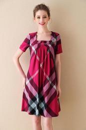 English Dresses NZ - stripe Plaid short-sleeved cotton classic long skirt English style 2019 summer new thin women's dress casual fashion brand 26