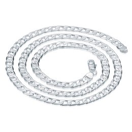 """Cuban Chain 7mm Australia - FREE SHIPPING Chain Necklace Men Jewelry 925 Sterling Silver 7mm Thick Cuban Fashion Handmade Necklaces Gift 26"""" inch"""