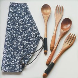 nice knifes Australia - Japanese Korea Style Wooden Fork Spoon Two-piece Suit Travel Portable Tableware Nice Dinnerware Bag Packing WB362