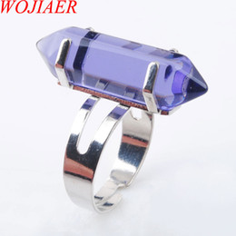 $enCountryForm.capitalKeyWord Australia - WOJIAER Unique Ring for Women Natural Stone Round Beads Casual Finger Rings Violet Quartz Silver Color Party Jewelry DX3046